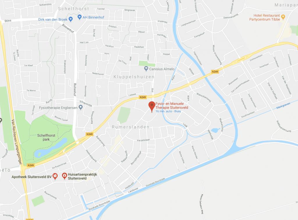 Een kaart van de wijk Sluitersveld, waar onze praktijk ligt. Klik om een routebeschrijving in Google Maps te bekijken of neem contact met ons op.